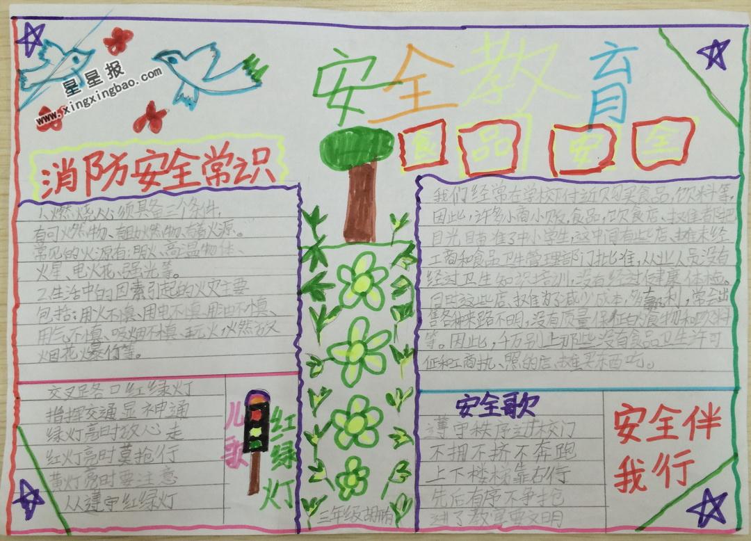 小学三年级安全教育手抄报