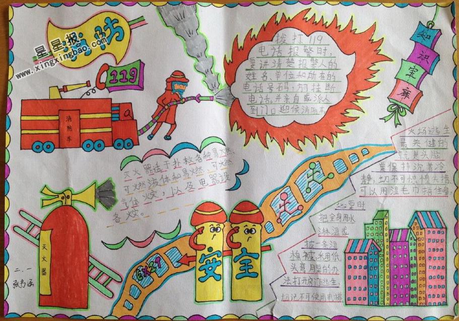 消防安全手抄报版面设计图图片