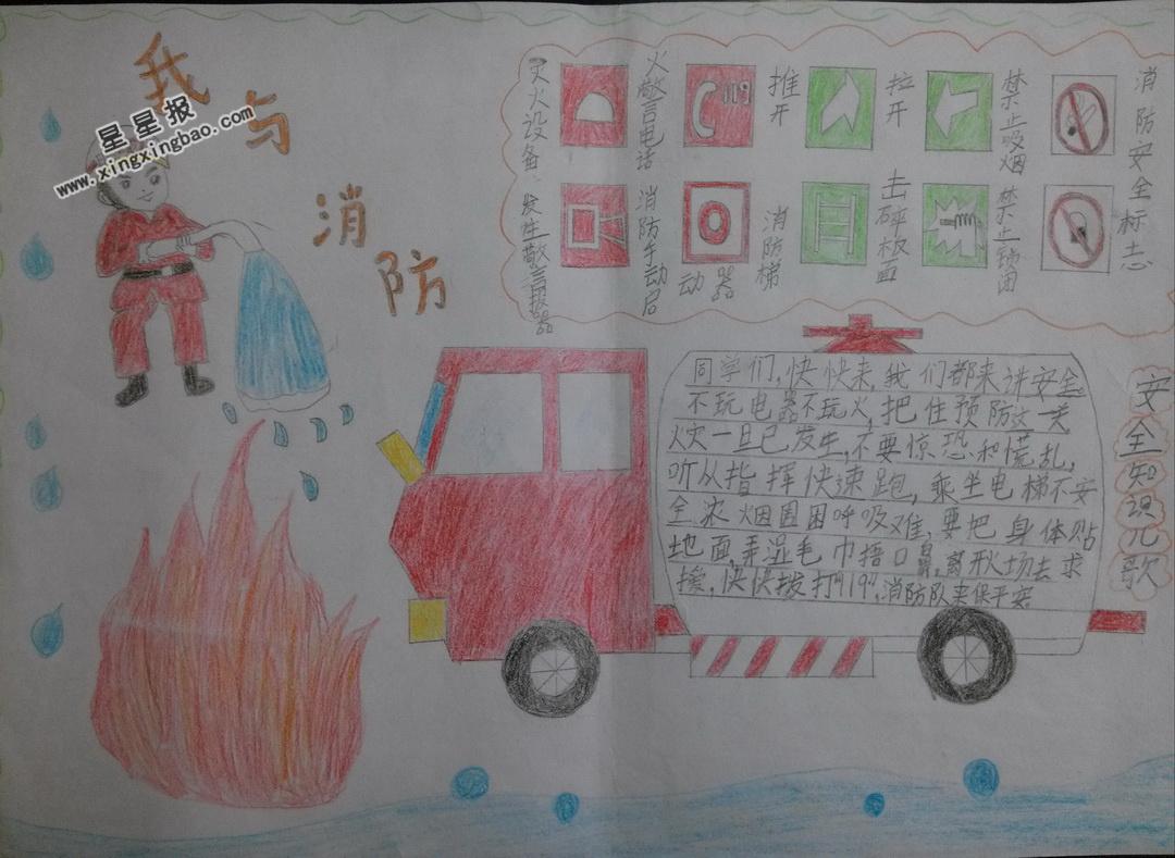 我与消防手抄报图片