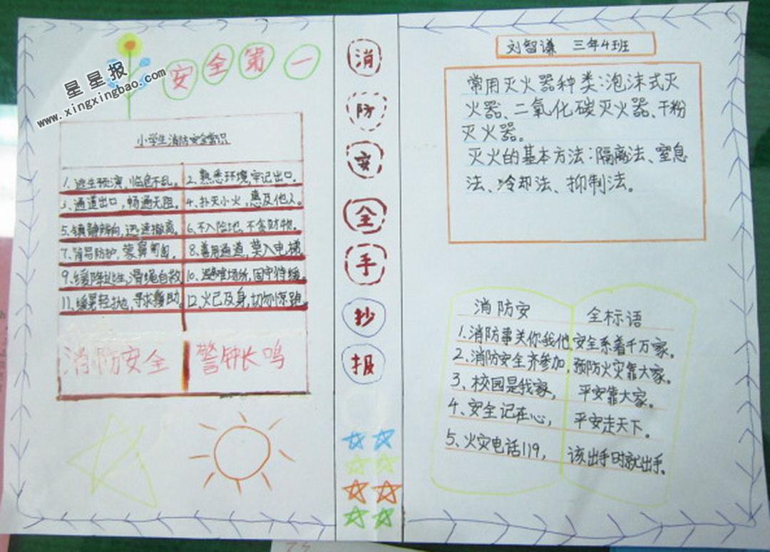 小学生消防安全手抄报篇美阅读小学图片