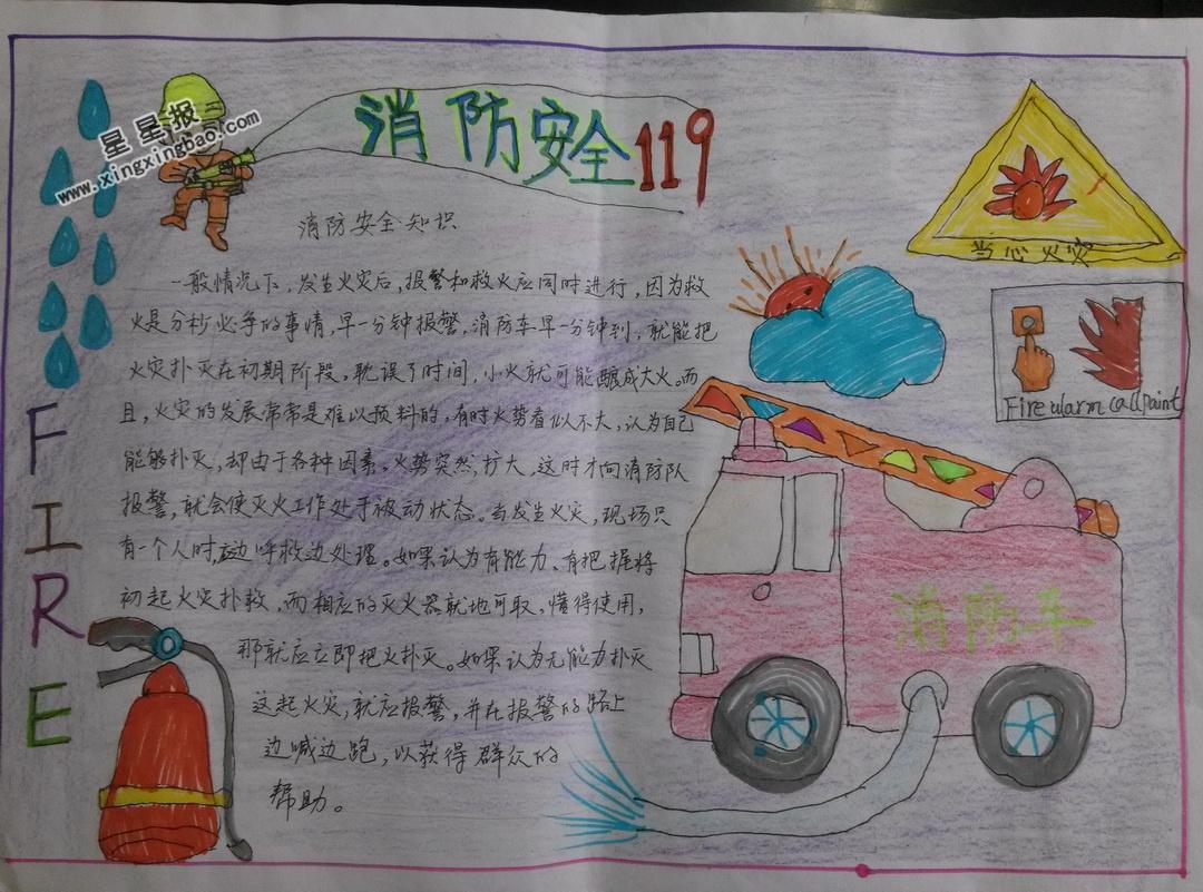 关于消防安全119手抄报版面设计图