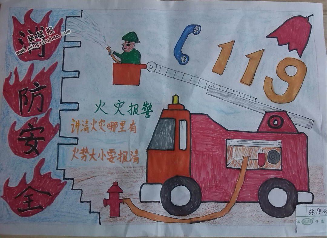 消防安全119手抄報_幸福家庭手抄報文章_黑白手抄報國家
