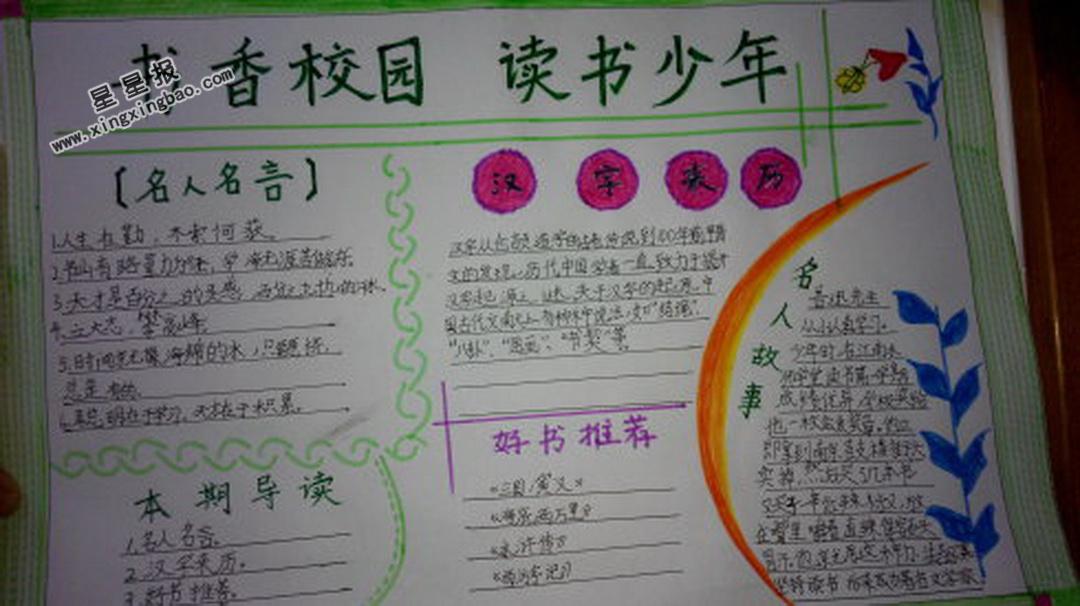 书香校园 读书少年手抄报图片