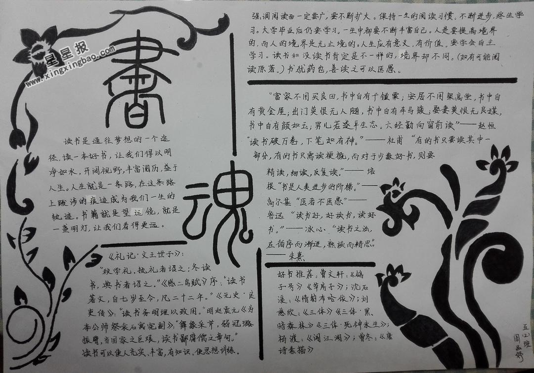 书魂手抄报版面设计图
