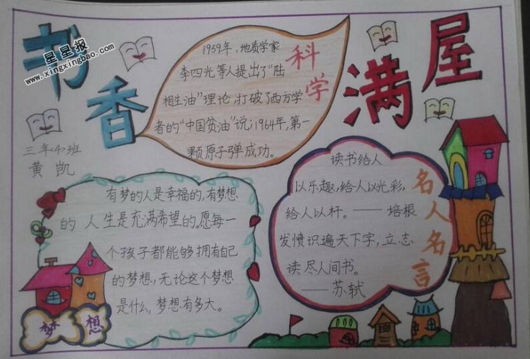 小学生书香满园手抄报版面设计图