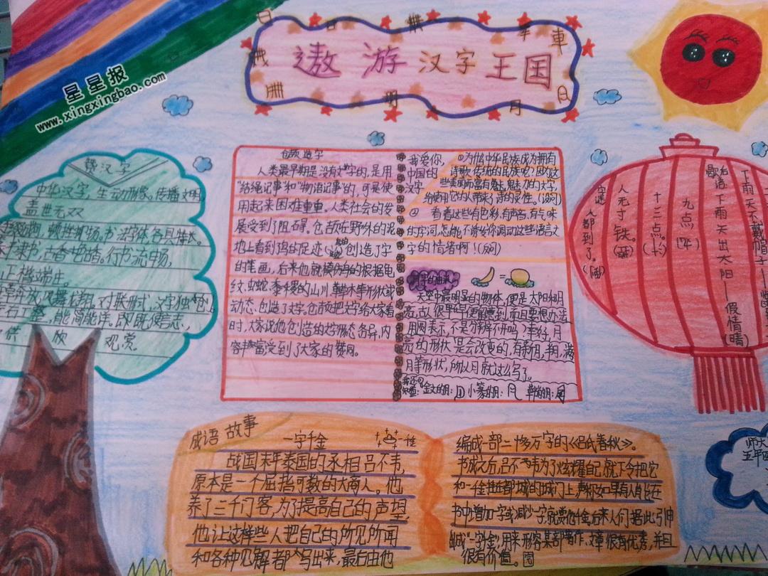 遨游汉字王国手抄报图片、资料