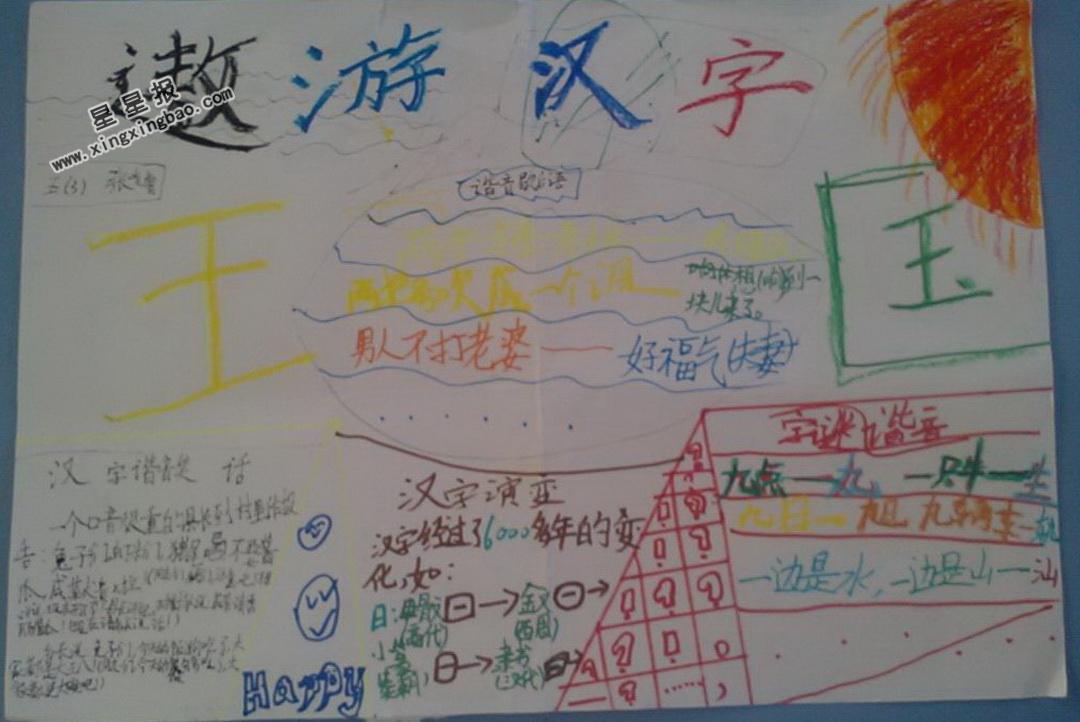 二年级遨游汉字王国手抄报