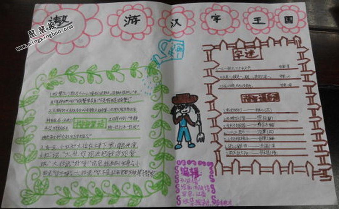 五年级遨游汉字王国手抄报图片
