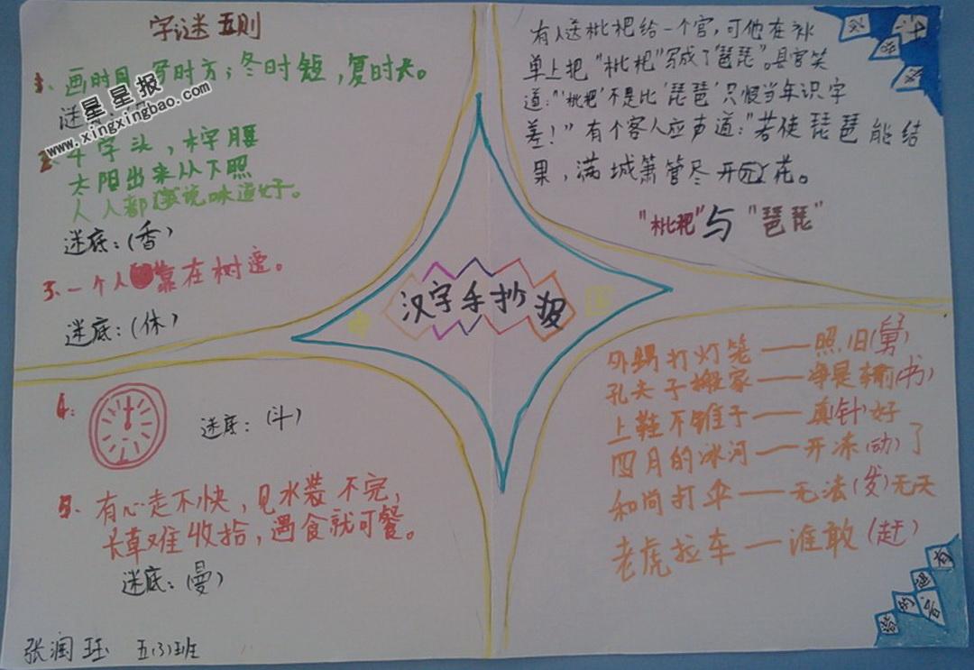 爱牙小报图片_关于汉字手抄报图片大全 - 星星报