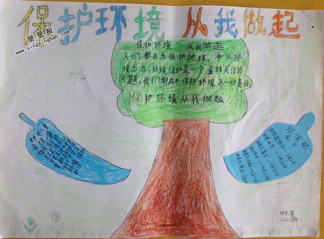 小学生保护环境从我做起手抄报图片图片