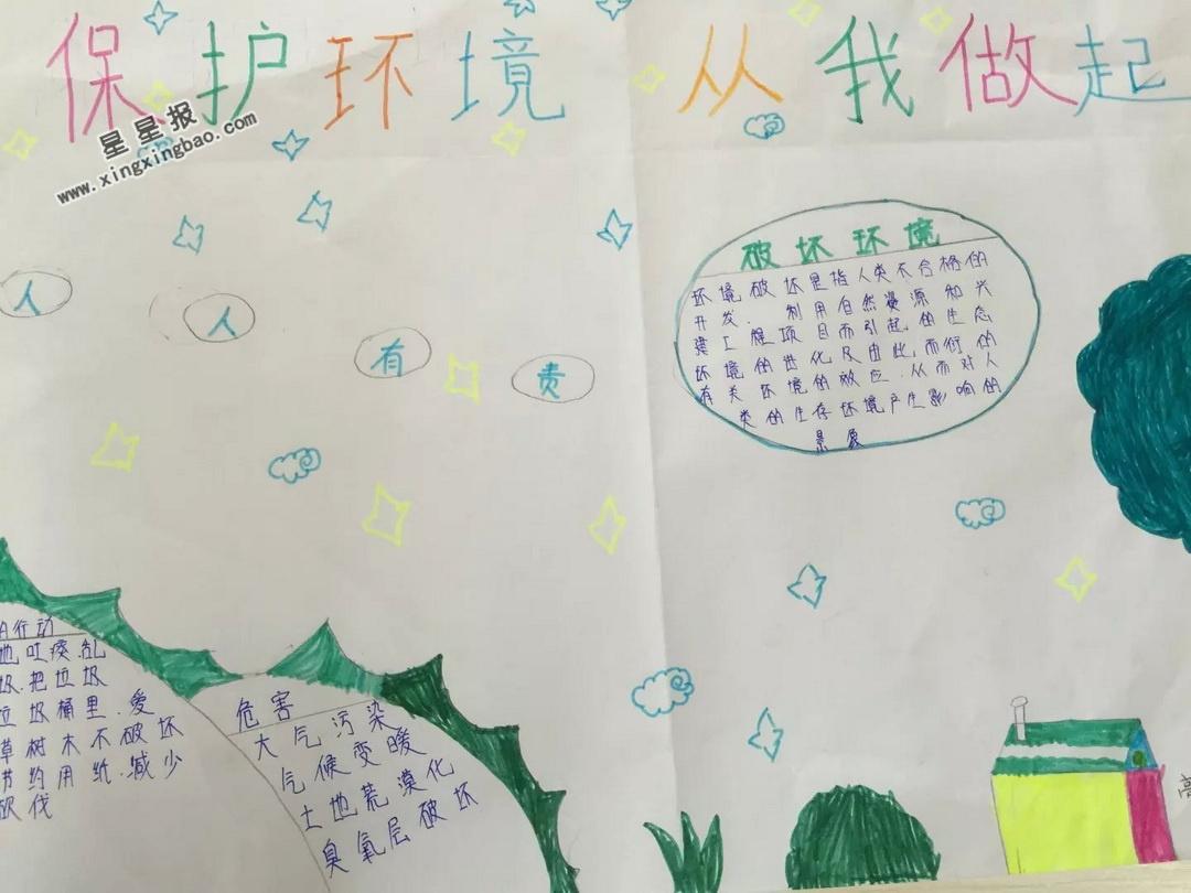 小学生保护环境从我做起手抄报图片