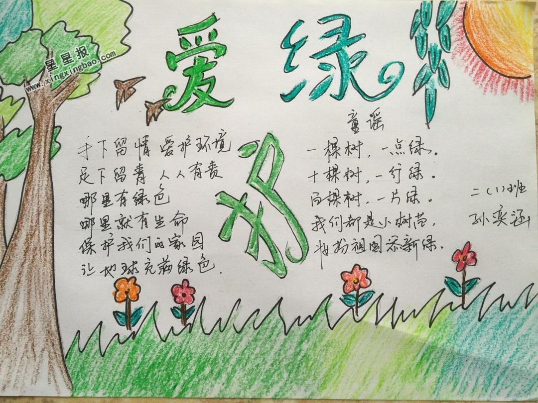 爱绿护绿手抄报版面设计图图片