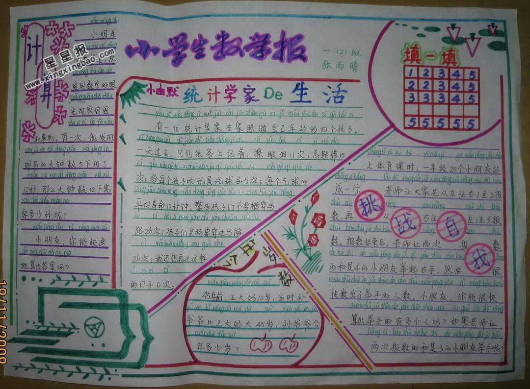 小学生数学手抄报图片,内容 - 星星报