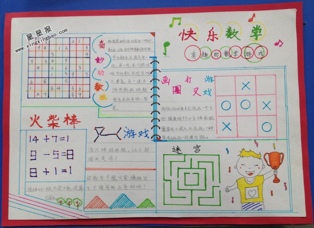 关于快乐数学手抄报版面设计图