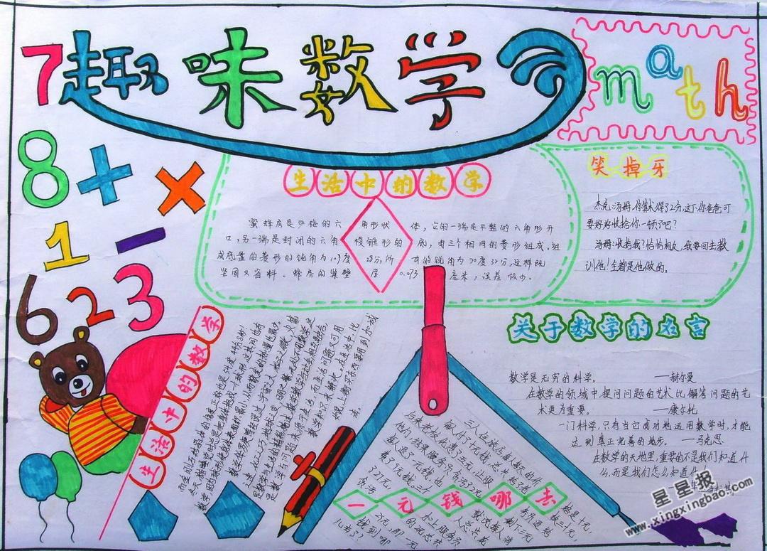 趣味数学手抄报版面设计图
