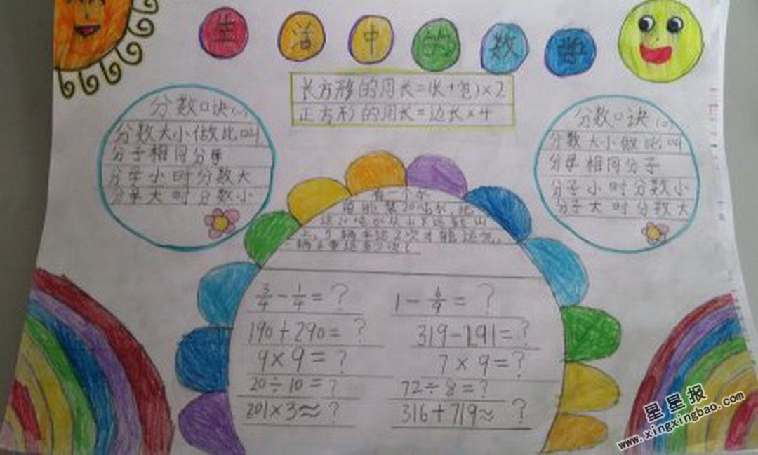 生活中的数学手抄报图片、内容