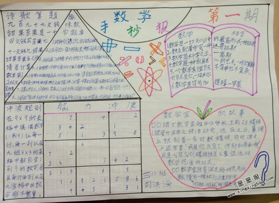三年级数学手抄报资料