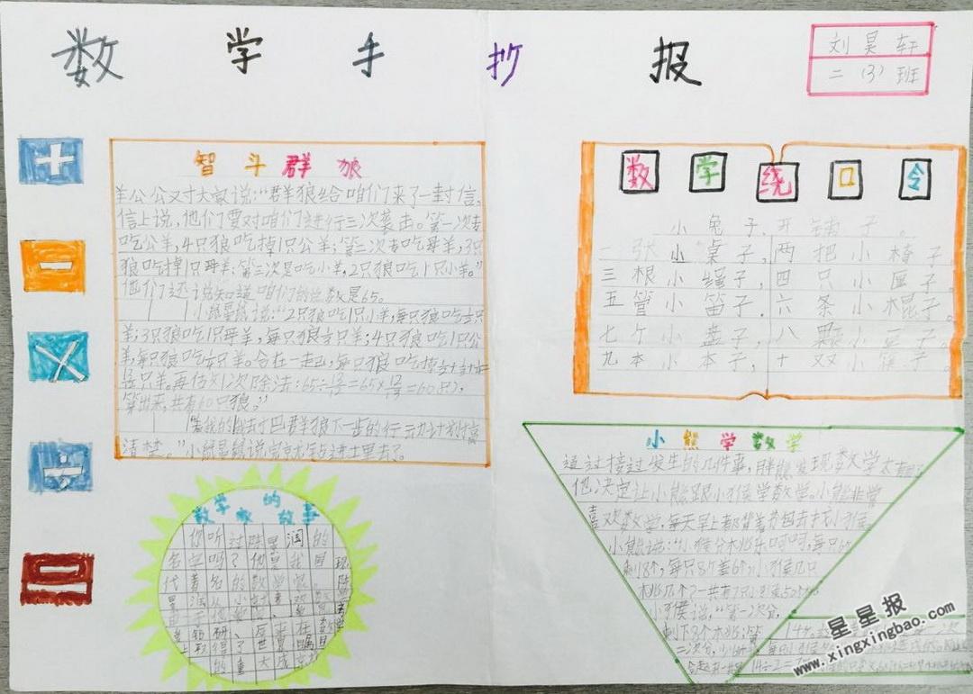 三年级数学手抄报图片大全