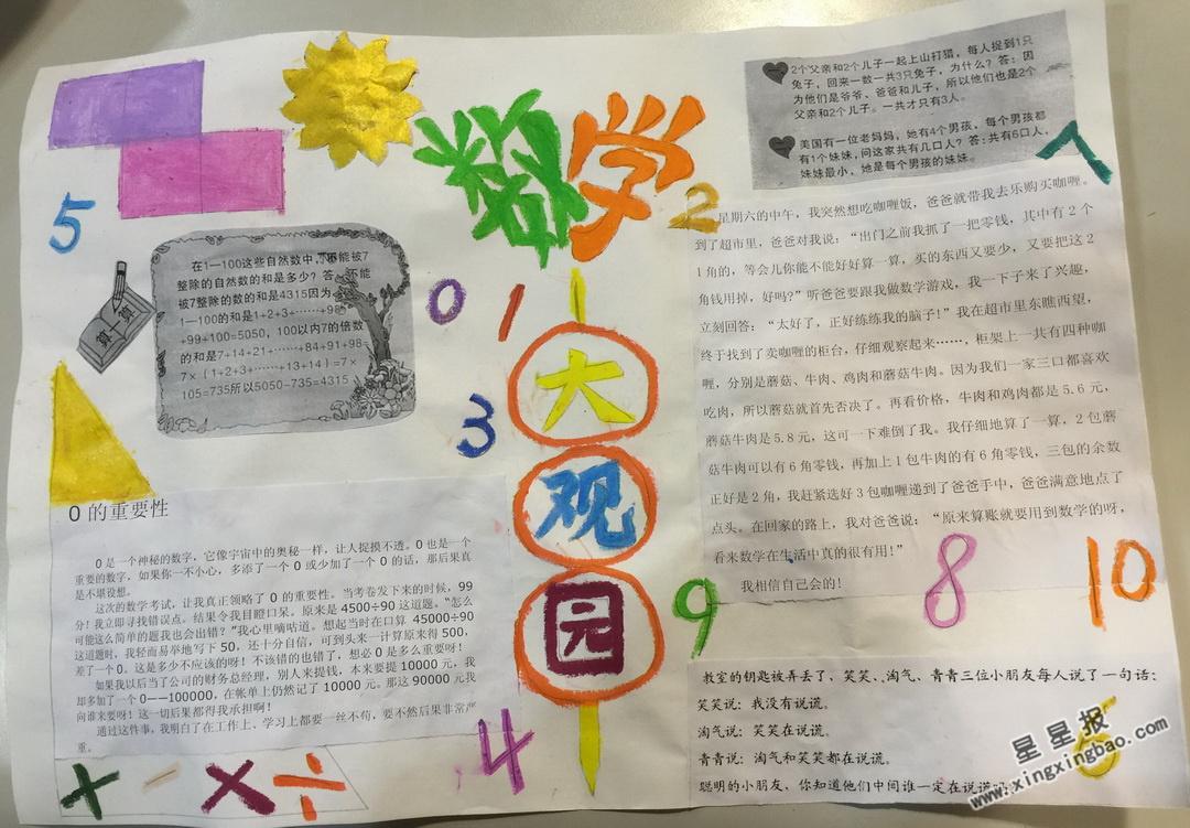 数学小故事手抄报内容