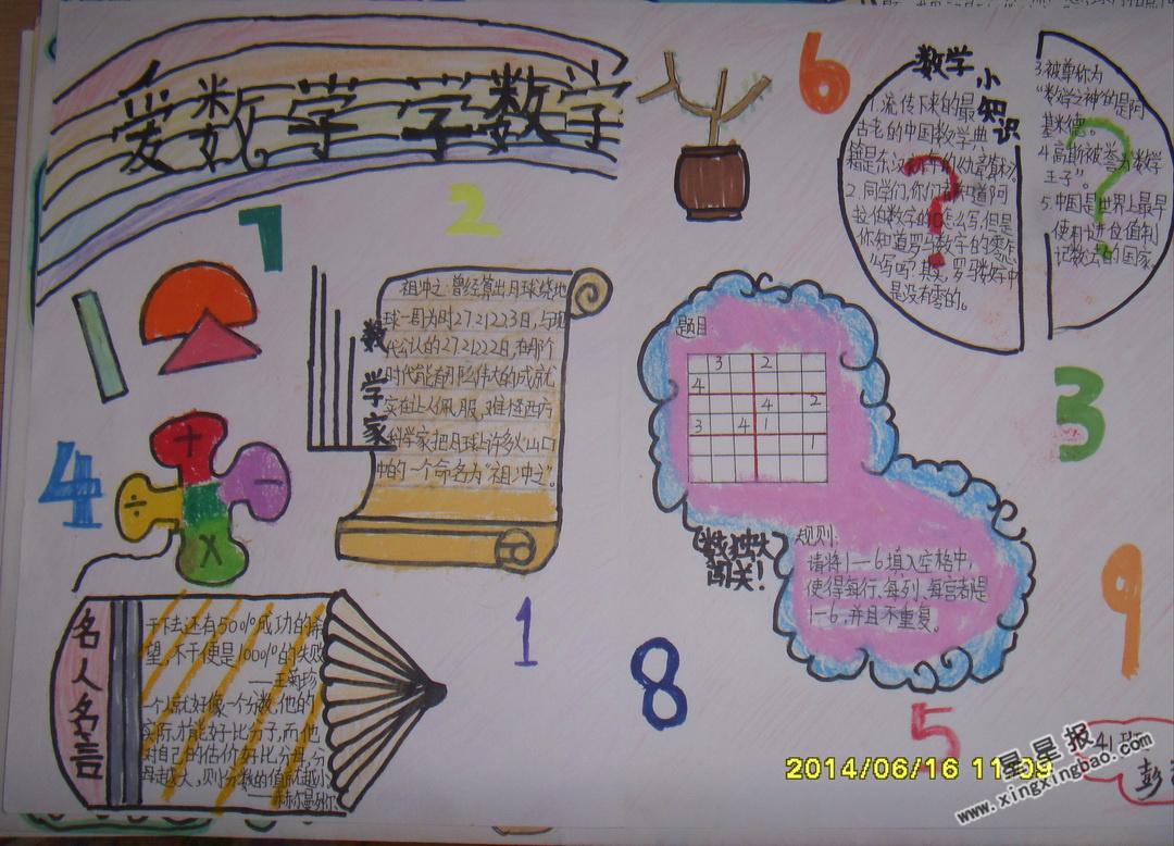 四年级学数学爱数学手抄报