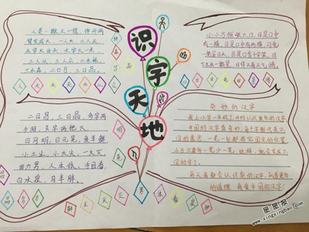 小学一年级识字天地手抄报
