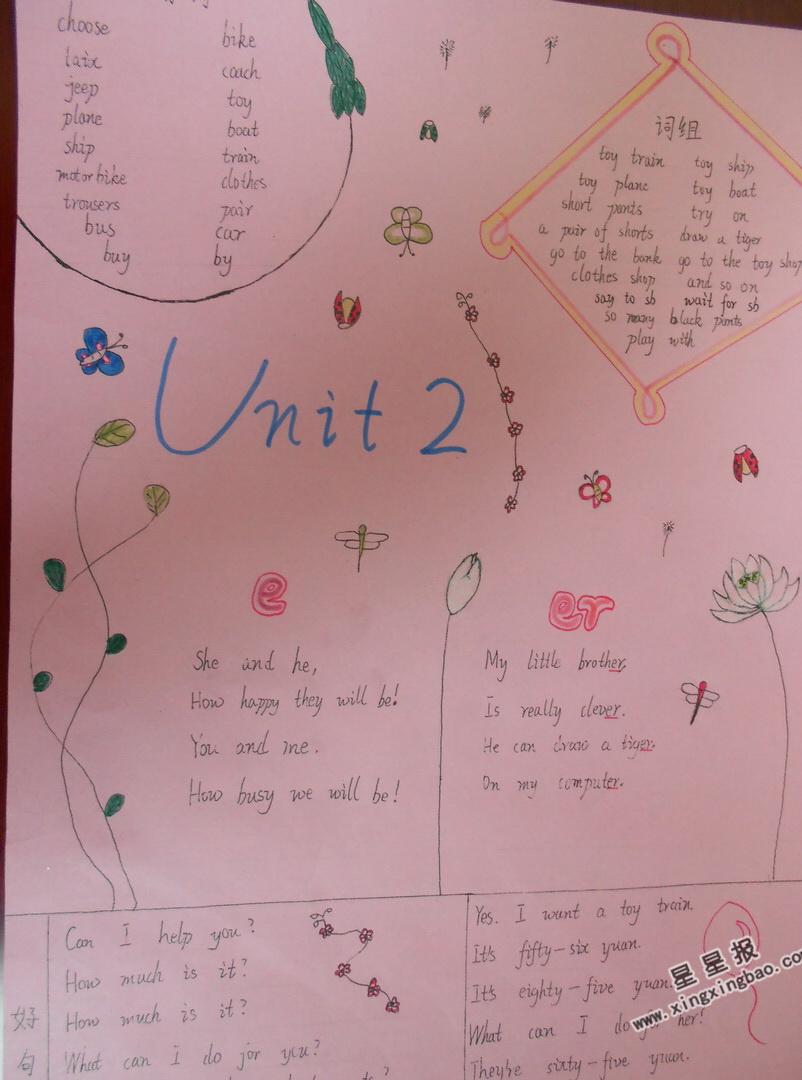 小学生Unit 2英语手抄报