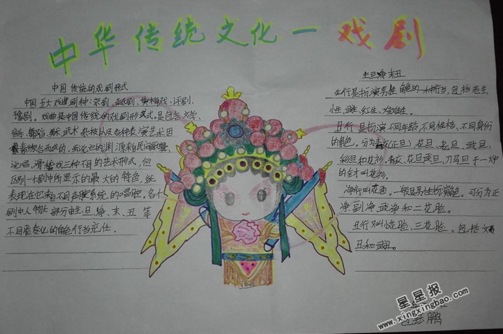 中华传统文化―戏剧手抄报图片