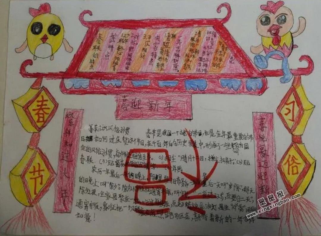 春节节日小报素材_关于春节习俗手抄报 - 星星报