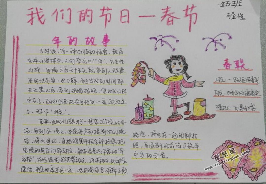 我们的节日―春节手抄报图片大全
