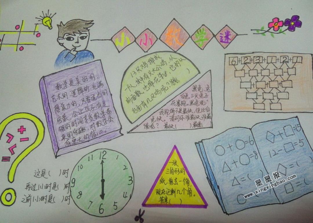 数学时钟小报_小小数学迷手抄报图片、内容 - 星星报