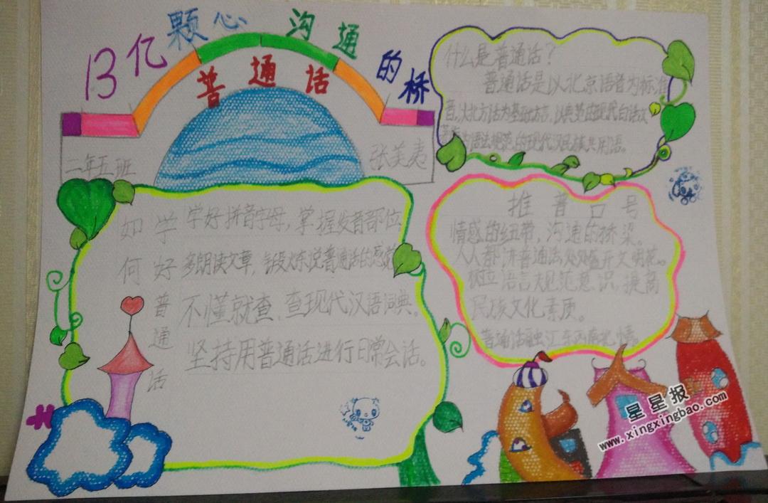 二年级普通话手抄报图片