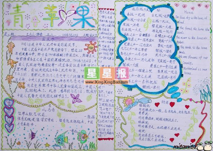 国庆节三年级手抄报作品