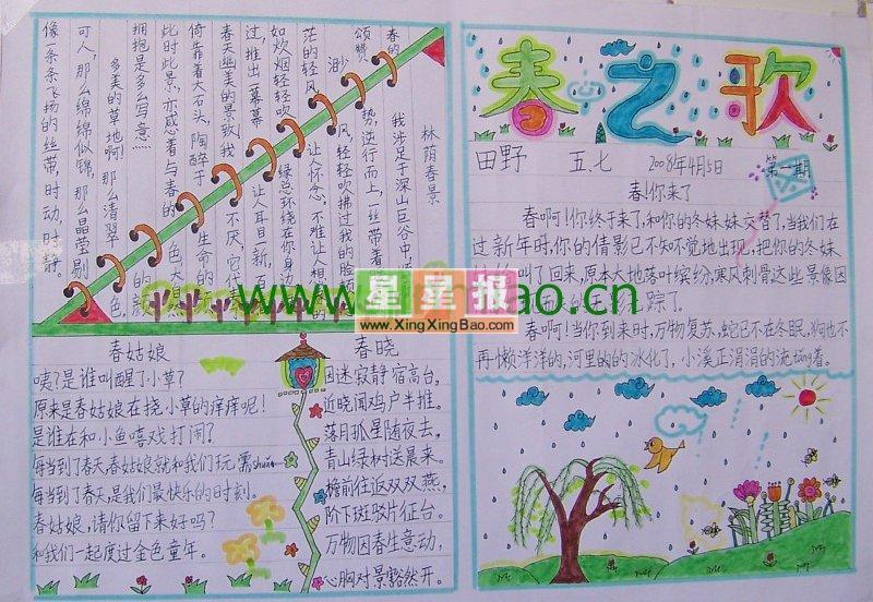 三年级春天手抄报(小鸟插图)
