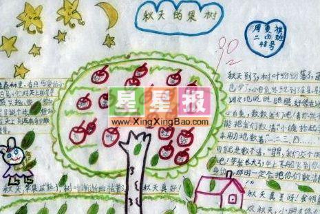 快乐暑假手抄报内容 秋天的果树