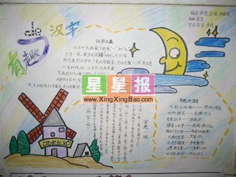 汉字手抄报——月亮与风轮插图