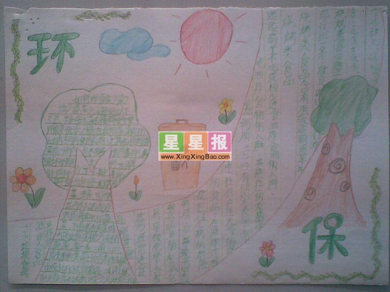 小学生环保手抄报(简单绘画)