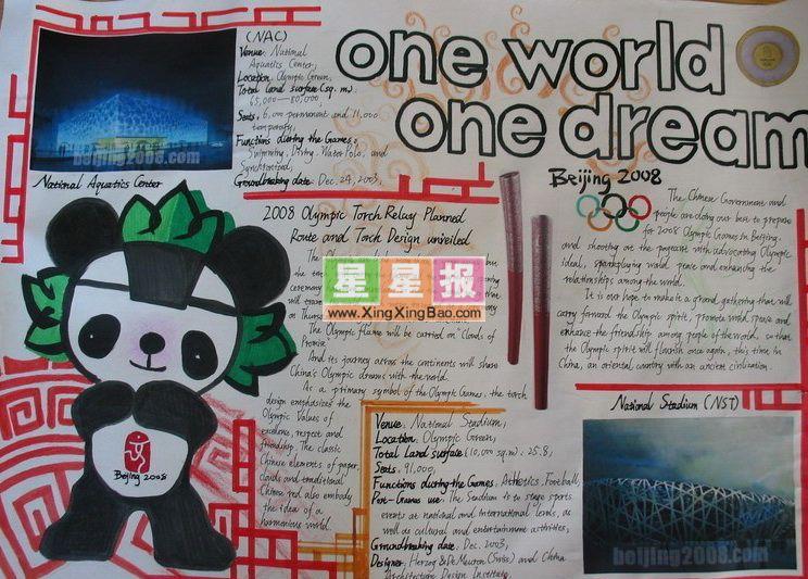 北京奥运英语手抄报