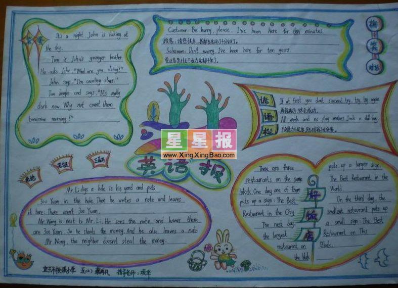 小学生英语手抄报《好饭店》; 类 别: 英语手抄报 学 校: 温岭市龙门