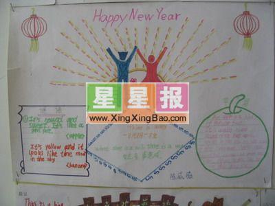 小学生英语手抄报《新年快乐》