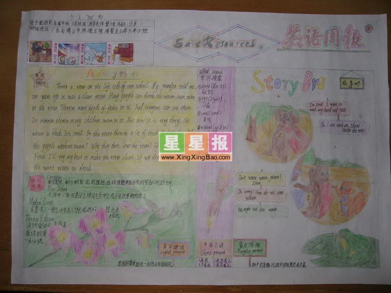 关于六年级英语手抄报的版面设计图