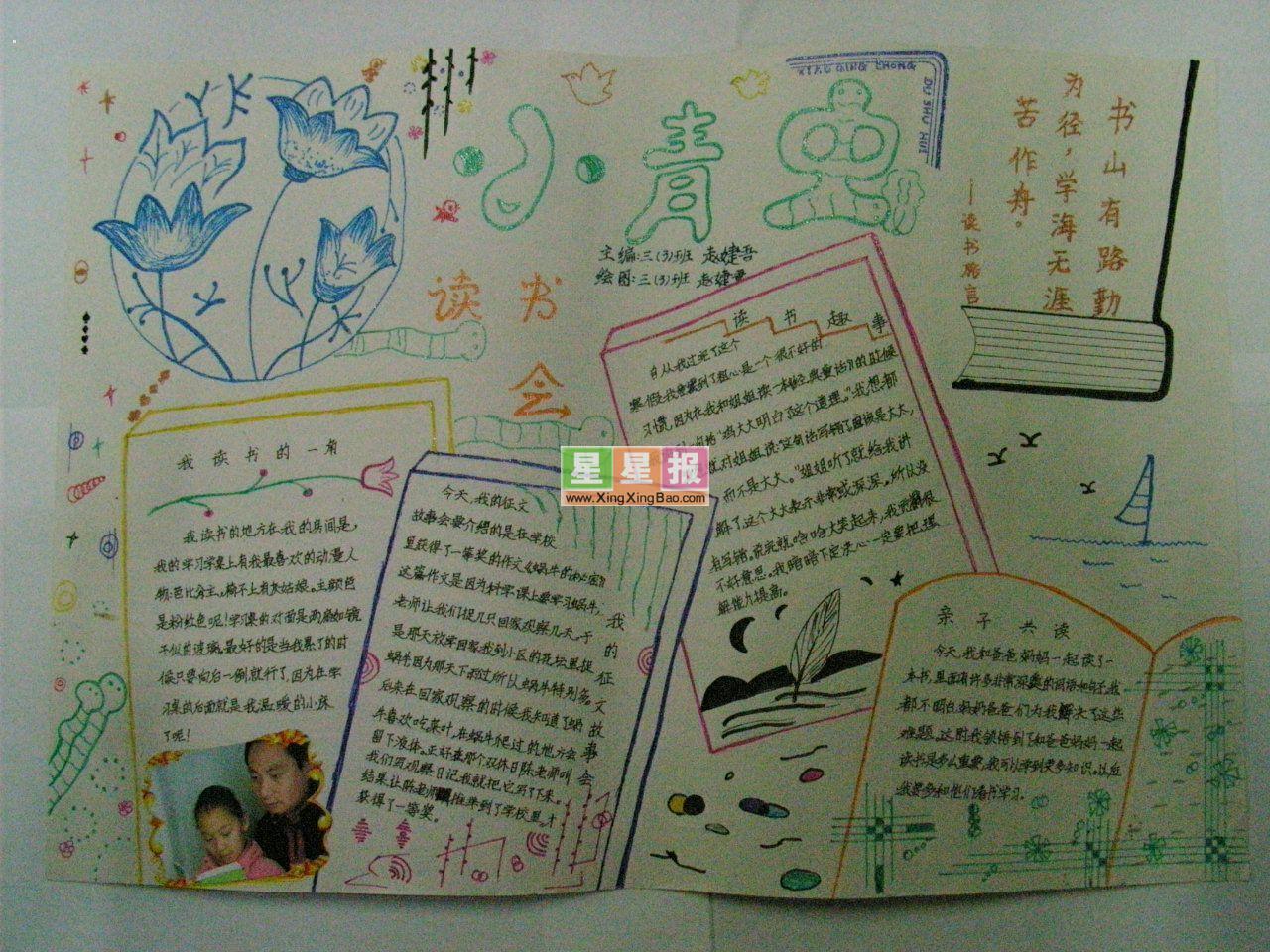 读书手抄报(小青虫作品)画报小学生苏州图片